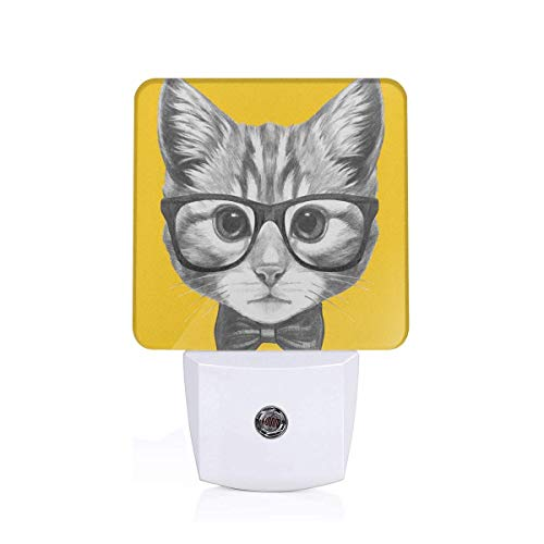 Sketchy Hand Drawn Design Baby Hipster Cat Cute Kitten With Glasses Image Print Plug-in LED Night Light Lamp with Dusk to Dawn Sensor, Night Home Decor Bed Lamp