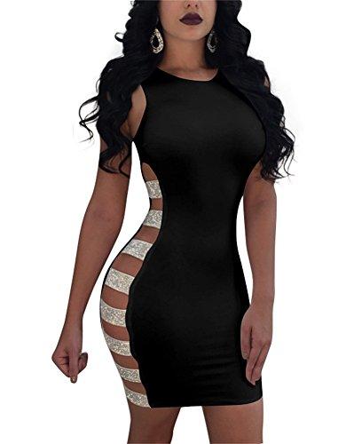 Voghtic Damen Sexy Sleeveless Pailletten Bodycon Minikleid Plain Solid Aushöhlen Party Kleider