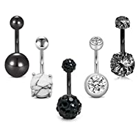 """MODRSA 5pcs 14G Belly Button Rings Surgical Stainless Steel CZ Pack Navel Barbell for Women Girls Piercing Rings Jewelry Belly Bar 3/8"""" 10mm"""