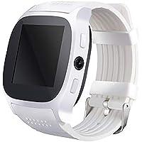 Ho Clock Reloj Inteligente Bluetooth con Soporte para Cámara Tarjeta SIM para Teléfono,White