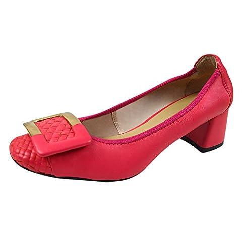 Frauen-Damen-Beleg auf Schaffell-Leder Mid-Ferse Chunky Schuhe Pumps 0018-1 (Rot,39)