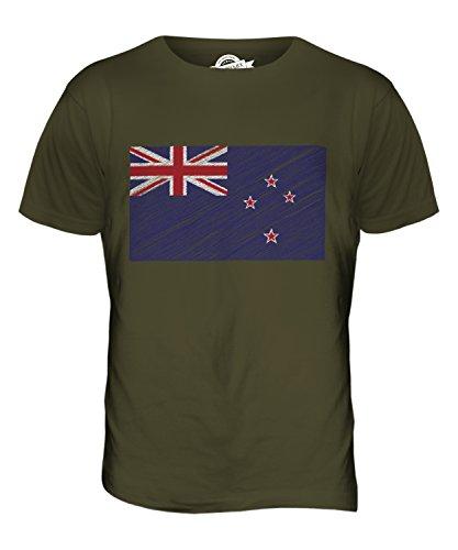 CandyMix Neuseeland Kritzelte Flagge Herren T Shirt Khaki Grün