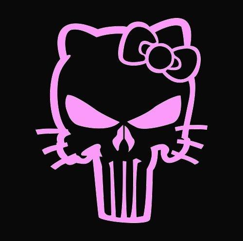 (SUPERSTICKI® Hello Kitty Punisher Skull Aufkleber Decal Hintergrund/Maße in inch Vinyl Sticker|Cars Trucks Vans Walls Laptop| Pink |5.5 in|CCI433)