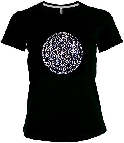 Ornament Shirt Blume des Lebens Strass kristall super funkelnd und gross V-Ausschnitt, T-Shirt, Grösse L, schwarz - Kristall V-ausschnitt T-shirt