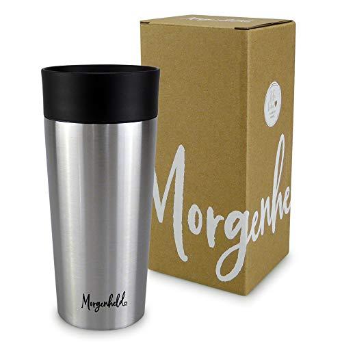 Morgenheld ☀ Dein trendiger Thermobecher Kaffee to go 350ml – Quick Press Verschluss - nachhaltiger Edelstahl Doppelwand Isolierbecher – auslaufsicher