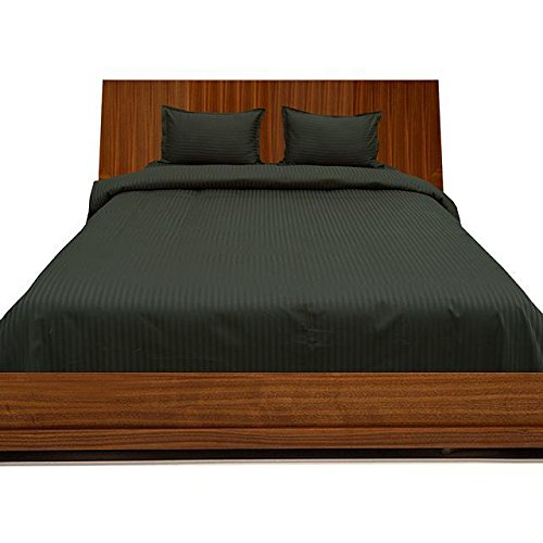 Ägyptische Baumwolle mit Einer Fadenzahl von 300 4pc Plansatz-& 3-teilig Bettwäsche-Set für Einzelbett, gestreift, Schwarz, 100% Baumwolle, 300TC, - 300tc-duvet-set