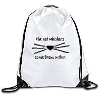Custom Dan Phil Cat Whiskers deporte mochila cordón bolsa de impresión, Blanco