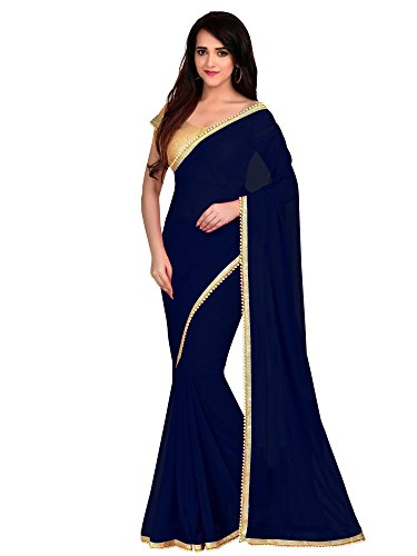 Viva N Diva Georgette Saree With Blouse Piece (24309_Navy Blue_Free Size)