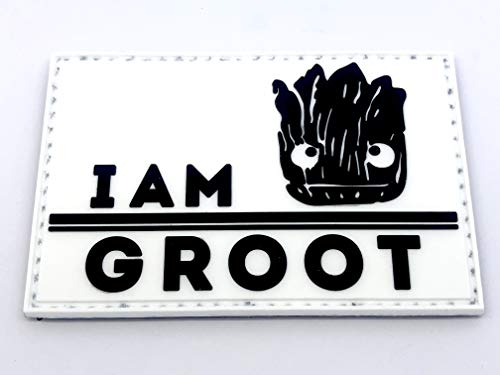 Patch Nation I Am Groot PVC Airsoft Paintball Klett Moral Flicken (Weiß)