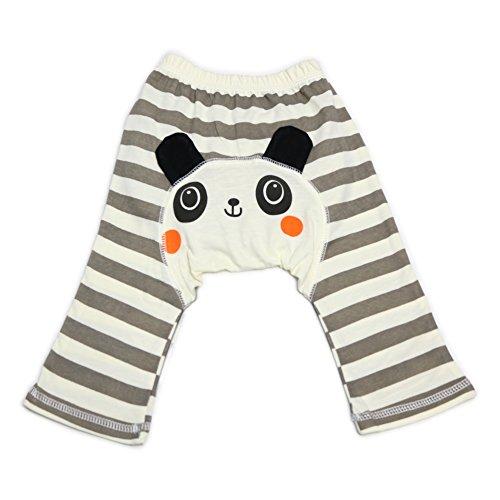 Dotty Fish Bébé et tout-petit Leggings de coton cool Gris et crème stripe Panda - Moyen/12-24 Mois