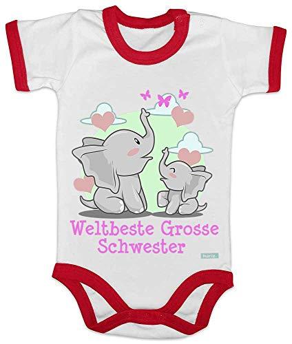 HARIZ Baby Body Ringer Weltbeste Grosse Schwester Elefant Herz Geburtstag Schwanger Plus Geschenkkarte Weiß/Rot 3-6 Monate -