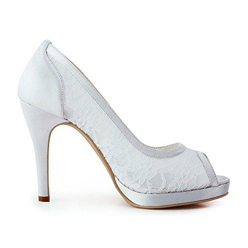 ElegantPark EP11084-PF Escarpins Femme Dentelle Transparent Bout Ouvert Plateau Chaussures de mariee Bal Blanc