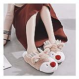 OMFGOD Slippers Femmes Hommes Coton Chaussons Cute Cartoon Hiver Home Piscine Chaud Non-Slip Étage Silencieux Confortable Chaussures Amoureux, Café, 42-43