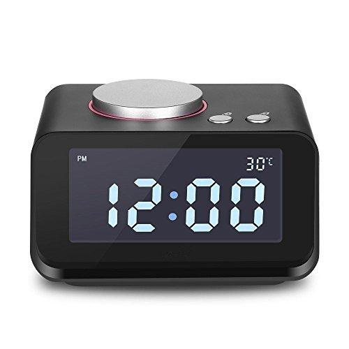 Preisvergleich Produktbild ANOLE Digitaler Wecker mit FM Radio Radiowecker,  Dual USB Ladeanschluss,  Thermometer LCD Wecker Dual Alarm Einstellungen Snooze Funktion Batterie Notstromversorgung Schwarz