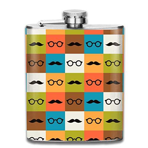 Brillen und Schnurrbart-Muster Premium 304 Edelstahl Flachmann Schnapsflasche Großes Geschenk, 7 Oz