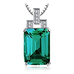 Idea Regalo - JewelryPalace Donna Gioiello Lusso 6ct Verde Artificiale Smeraldo Nano Russo Pendente Collana con Ciondolo 45cm Argento Sterling 925 Regali di San Valentino