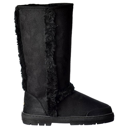 Ella Women's Ladies Synthetic Fur Trimmed Fur Lined Flat Winter Snug Boot - Chestnut Brown, Black, Dark Brown Schwarz