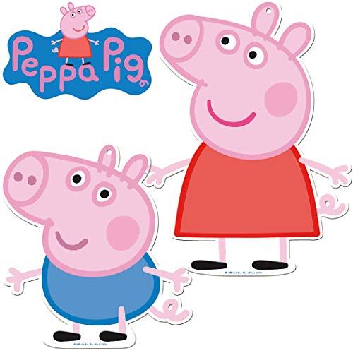 Lot de 2 Grandes plaques en Carton Peppa Pig - Décoration Murale pour Anniversaire d'enfant et fête à thème - Décoration de fête d'enfants