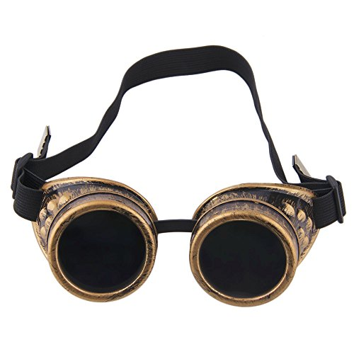TRIXES Steampunk, Schweißer Brille, Party - Accessoire, Kostüm, Karneval - Zubehör, Messing - Optik, verstellbar