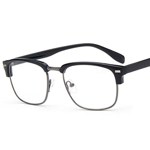 Hibote Männer Frauen freie Objektiv-Geek/Nerd-Retro Wayfarer Brille X1#Xier (Plain Gläser Wayfarer)