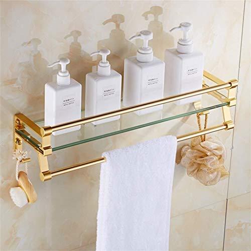 Zfggd Badezimmer Regal 8mm Glas Badezimmer Regal Dusche Dial Gold-Organizer Wandmontage Befestigungszubehör (Size : 50cm)