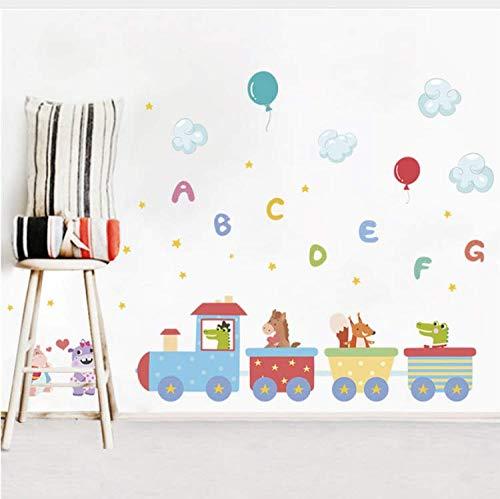 Miss Zhang's shop Tiere Zug Englisch Brief Ballon wasserdichte Wandaufkleber Für Kinderzimmer Wandtattoo Wandaufkleber Kinder Party Decor 50X70 cm - X Brief Ballon