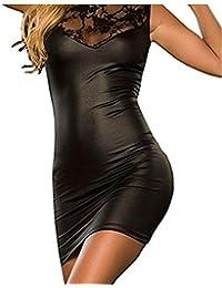 Fortan Damen mit V-Ausschnitt Transparent Häkelspitze-Leder-Wäsche