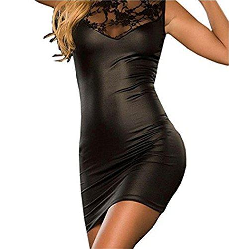 Sexy Dessous, Fortan Damen mit V-Ausschnitt Transparent Häkelspitze-Leder-Wäsche (EU=40, Schwarz)