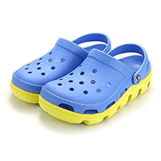 Respeedime Hole Shoes Men's Summer Beach Shoes Breathable Sandals Slippers Blue/Yellow 9.5M