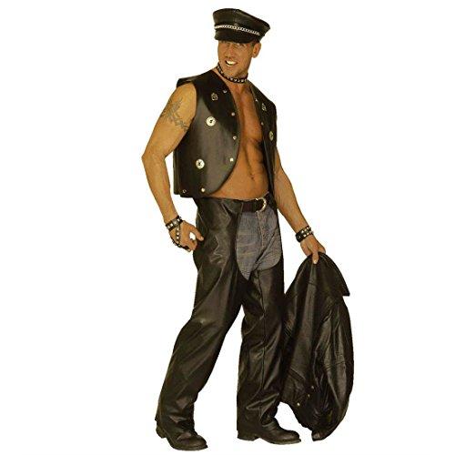 Rocker Leder Hose Biker Chaps Kostüm Motorradhosen Bikerchaps Hosenüberzieher Karneval Fasching Gr M-L 48/52
