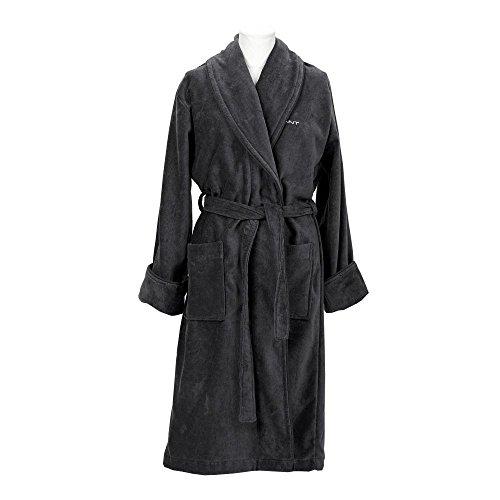 GANT Herren Bademantel Premium Velour Robe antracite