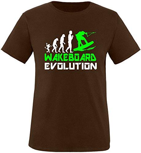 EZYshirt® Wakeboard Evolution Herren Rundhals T-Shirt Braun/Weiss/Neongr