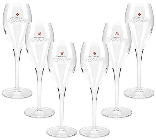 Lanson Reims France Champagner Gläser Flöten Set - 6x 10cl geeicht