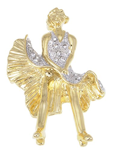 Alilang Gold Farbton Raum Kristall farbige Strass Marilyn Monroe Kleid Brosche