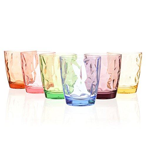 Urmelody Partybecher, farbig, bruchfest, aus Acryl, unzerbrechliche Trinkgläser aus recyceltem Tritan, Weingläser aus bruchsicherem Kunststoff, 4er-Set, 6 Colors, 6er-Set