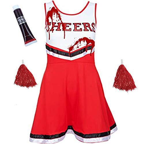 Kostüm Pommes Rot Weiß - WickedFun® Damen Cheerleader-Kostüm, Outfit mit POM