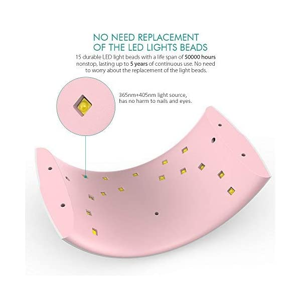 Abody Secador de Uñas 24W Lámpara LED UV Profesional Maquillaje Uñas con Temporizador para UV Gel Gel de Constructor LED…