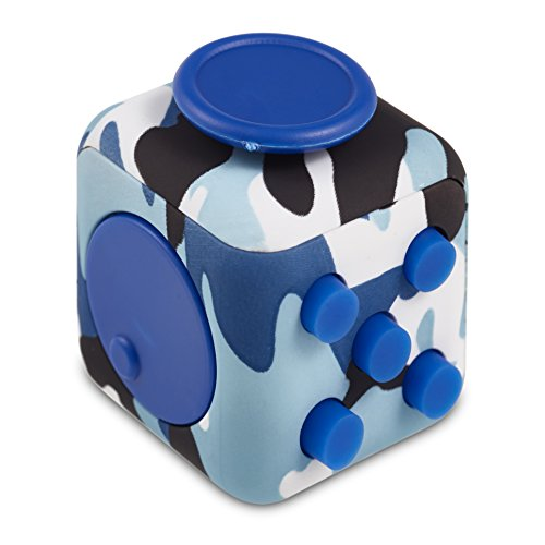 Original Envolve Camouflage Fidget Cube (Blue) - For focus, calm anxiety, and break nervous habits (Gift Packaging) -
