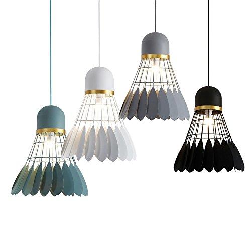 5151BuyWorld Lampe Moderne Einfache Post Anhänger Kreative Badminton Licht Federball Licht Kunst Schwarz Weiß Grau Zeichnung Wohnzimmer Lampe Top Qualität {Durchmesser 39 CM & Schwarz} -