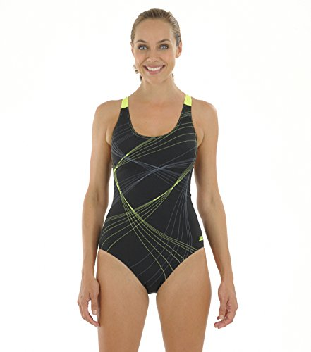 zoggs-sydney-flyback-swimsuit-body-de-competicion-para-mujer-color-negro-amarillo-talla-uk-40-inch-s