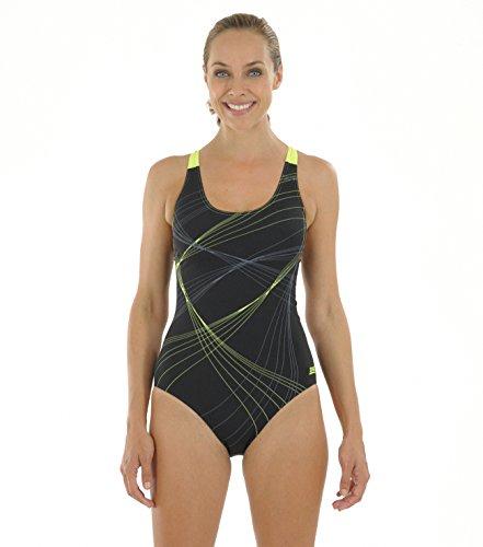 zoggs-maillot-de-femmes-sydney-bain-dos-ouvert-pour-fille-noir-noir-jaune-81-cm