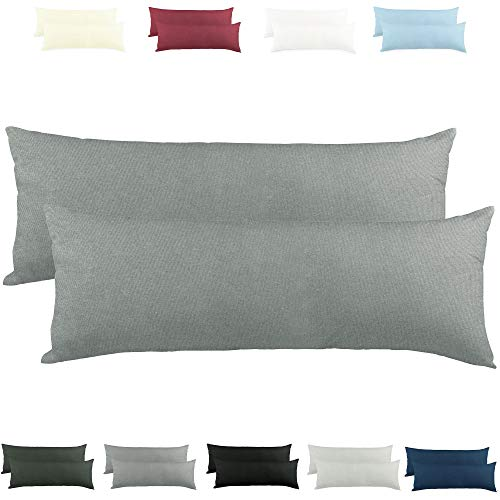 CelinaTex Active Seitenschläferkissen Bezug Doppelpack Set 40x145 dunkel grau Baumwolle Jersey Stillkissen Kissenhülle 5001560