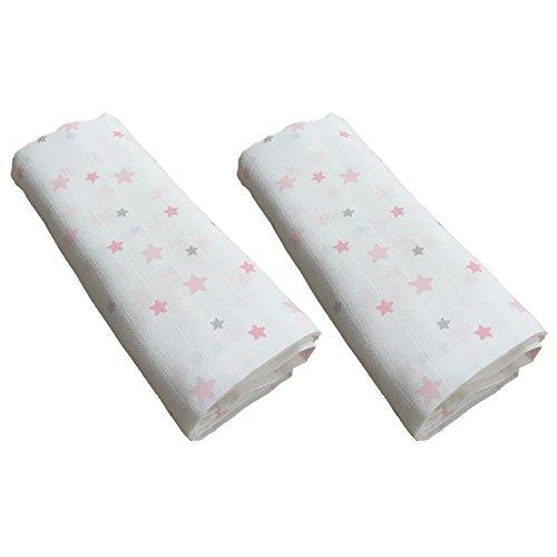 GLOOP. Set Mullwindeln 2Baumwolle Sterne rosa 100x 100cm