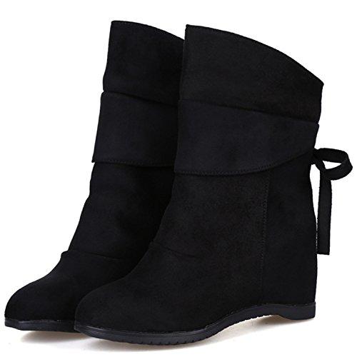 Oasap Femme Mode Boots Talons Compensés Bout Rond À Enfiler blue