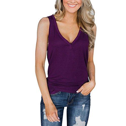 """ZIYOU Sling Weste Chiffon, Frauen Ã""""rmellos Rundhals T-Shirt Bluse Elegant Mode Oberteile Einfarbig Freizeithemd Tops (Violett-B, S)"""