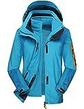 Serface Wanderjacke Damen, 3 In 1 Funktionsjacke Wasserabweisend Outdoorjacke Atmungsaktiv Blau