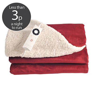 Luxury Red & Cream Velvety Electric Heated Throw, 135x180cm Best Price and Cheapest