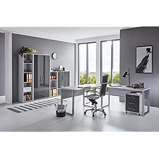 moebel-dich-auf.de Büromöbel Komplettset TABOR PRO 4 in diversen Farbvarianten (lichtgrau/anthrazit Hochglanz)
