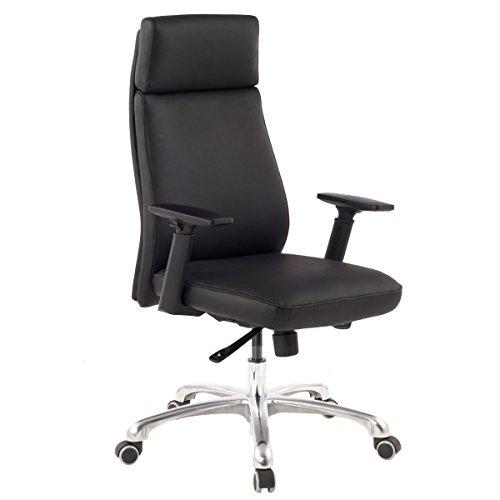 FineBuy Bürostuhl PATO Echt-Leder Schwarz ergonomisch mit Kopfstütze | Design Chefsessel Schreibtischstuhl ergonomisch mit Wippfunktion | Drehstuhl mit Armlehnen X-XL 120 kg