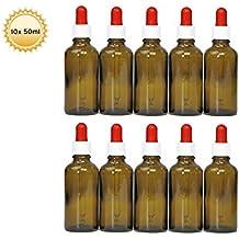 10x 50ml Pipeta botellas (marrón cristal) con pipeta, braunglasf laschen con dosierpipette o Pipeta con cuentagotas Dosificar de gota de ojo de líquidos, por ejemplo, incluye 10rotulación etiquetas